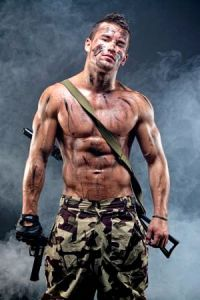 Muscular young wet sexy naked dirty soldiers with weapons