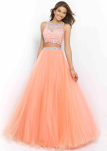 Two Piece Coral Pink High Illusion Neck Long Ball Gown 2015